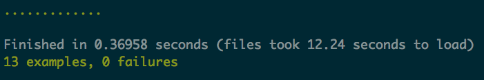 Test Suite Output - 13 examples, 0 failures, Finished in 0.36985 seconds
