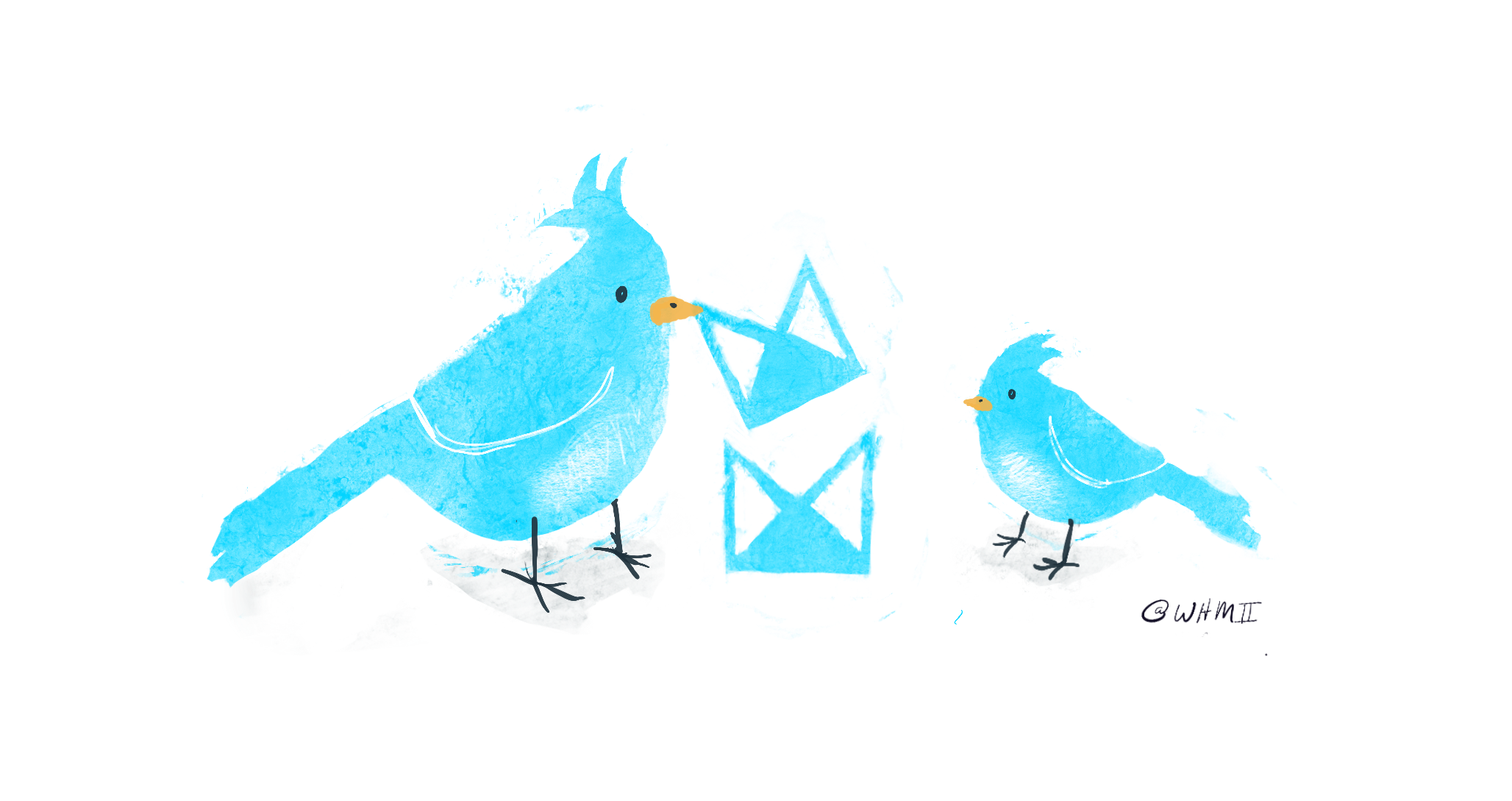 Neat – Illustration of 2 birds playing with the neat logo