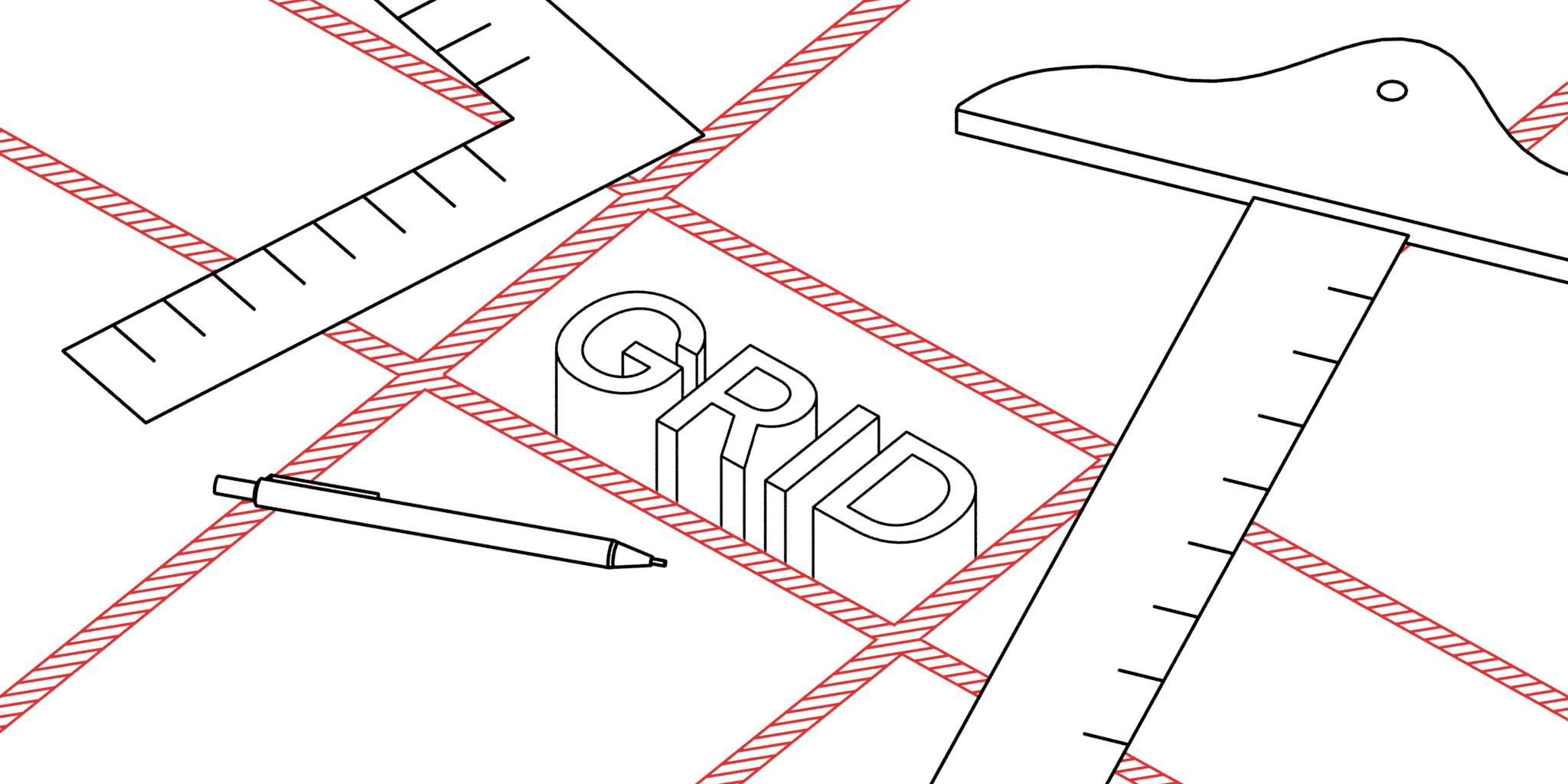 Illustration of a CSS grid being drawn