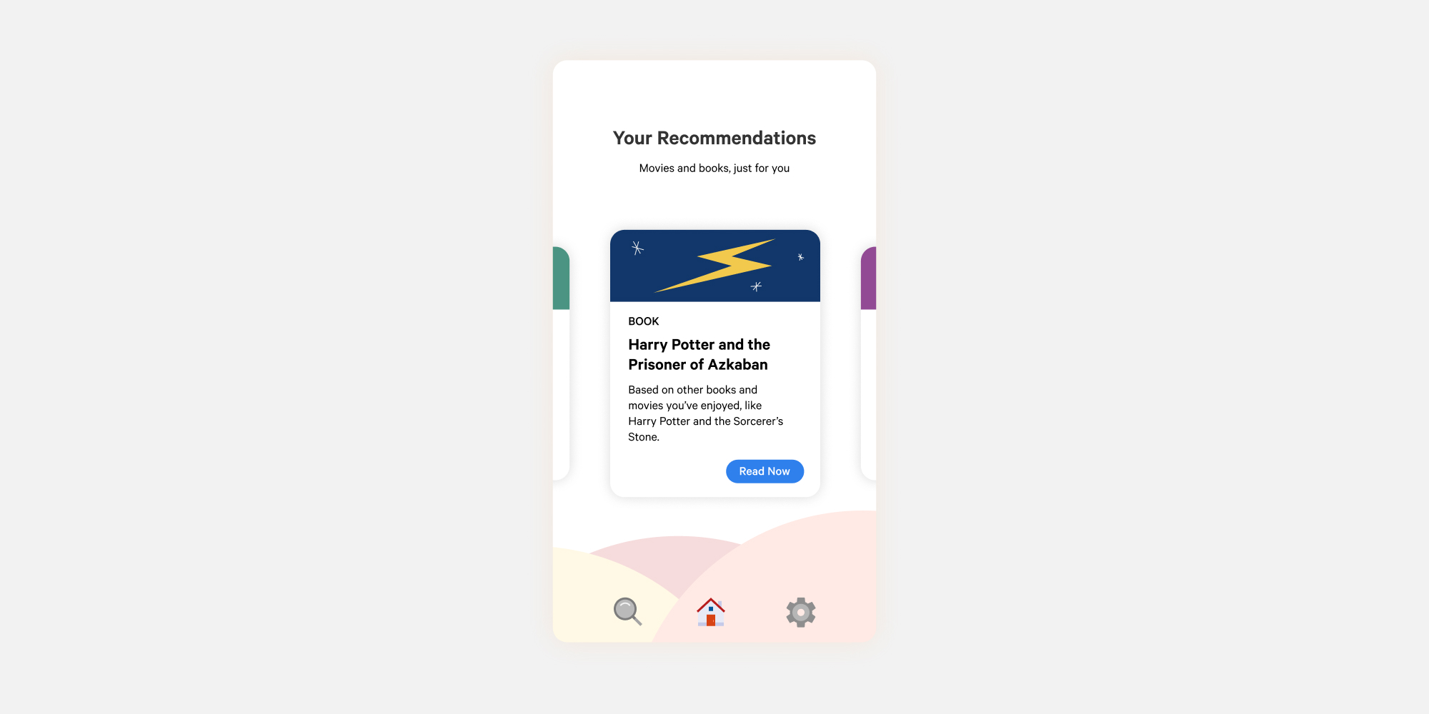An app with a complex design. There is a floating card layout that the user can navigate by swiping left or right. There is also a background with overlapping circles as well as a highly customized bottom tab bar.