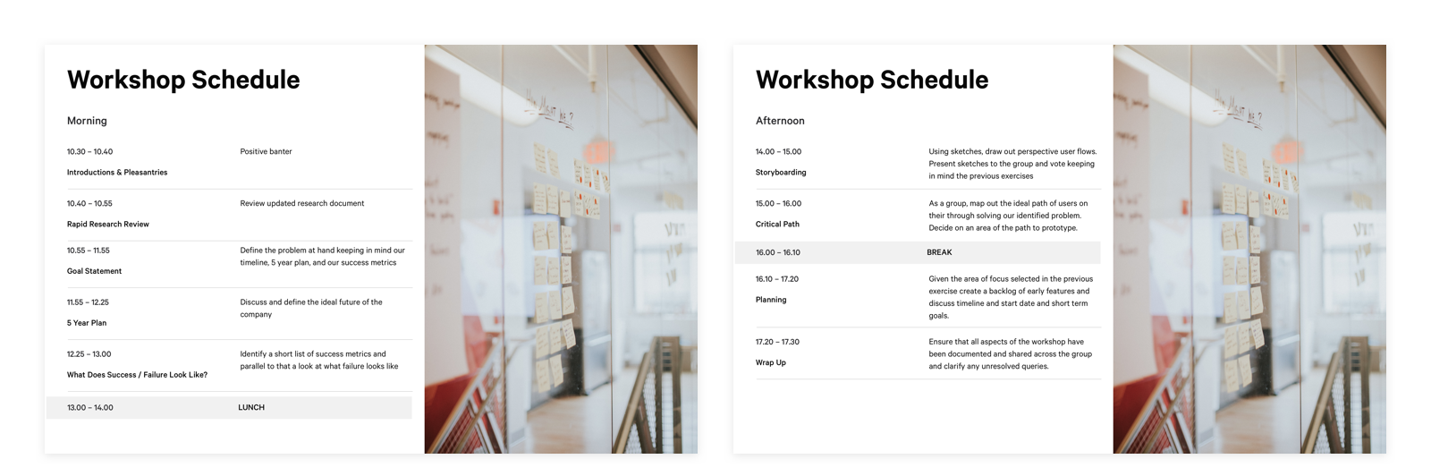 two presenation mock ups of the workshop schedule