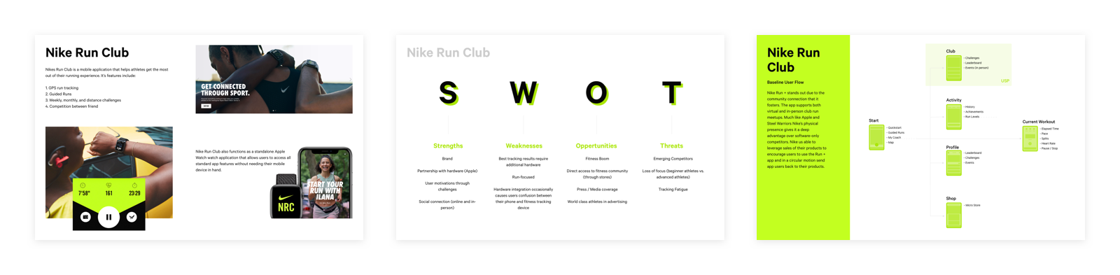 Presentation pages showcasing research outcomes from investigating the  Nike Run club app