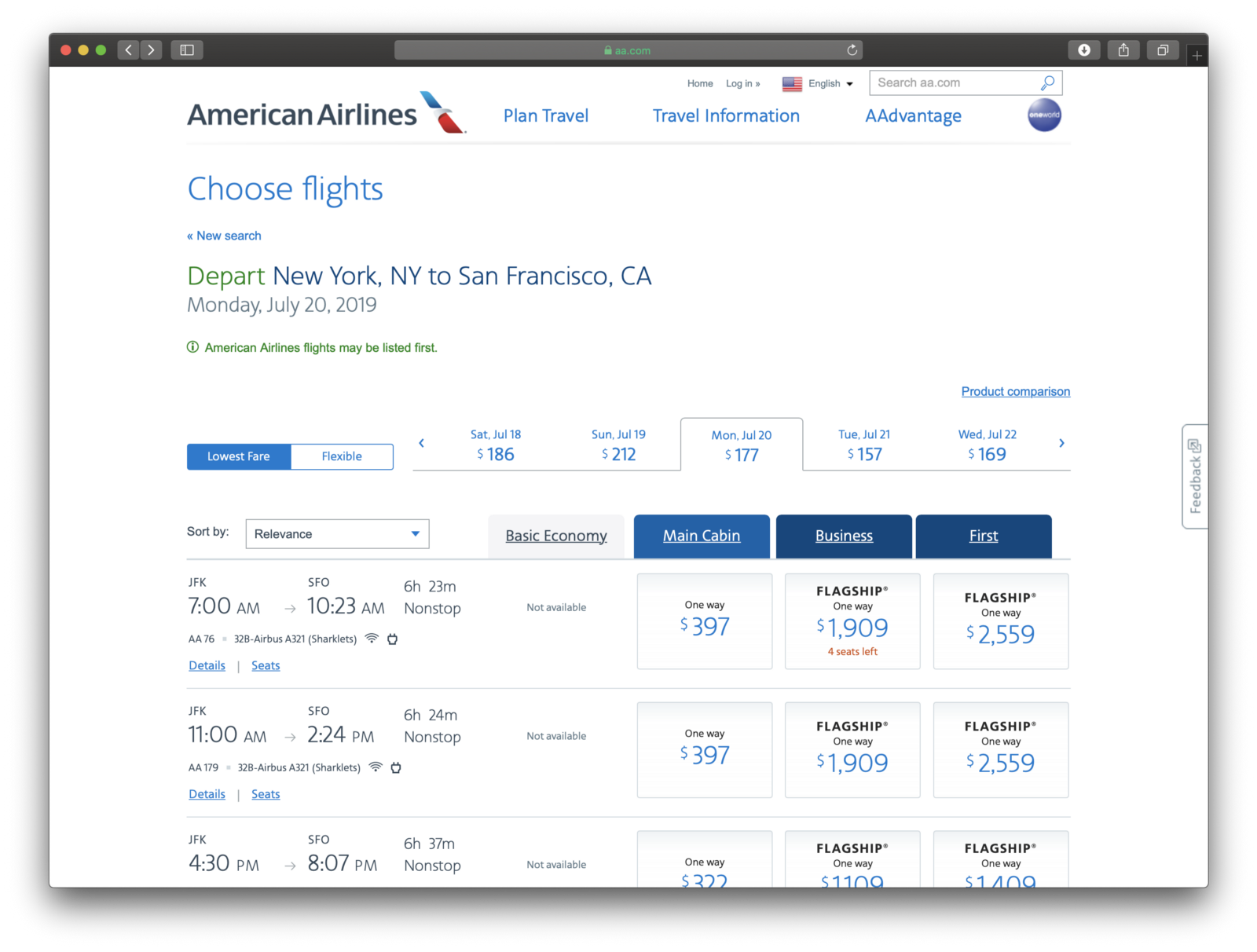 Prices for American Airlines for July 2019