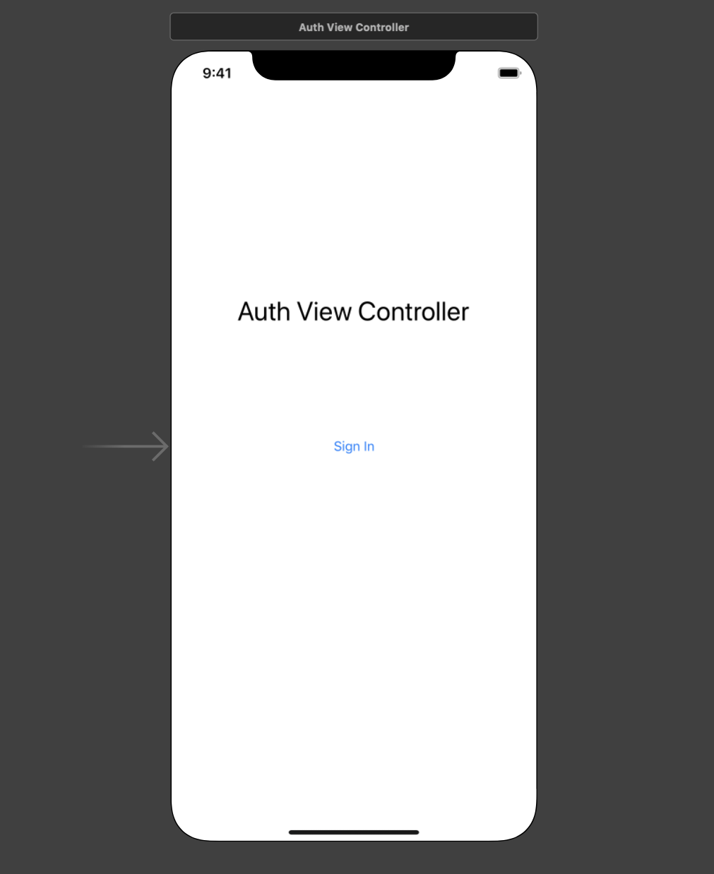 Auth View Controller in Interface Builder