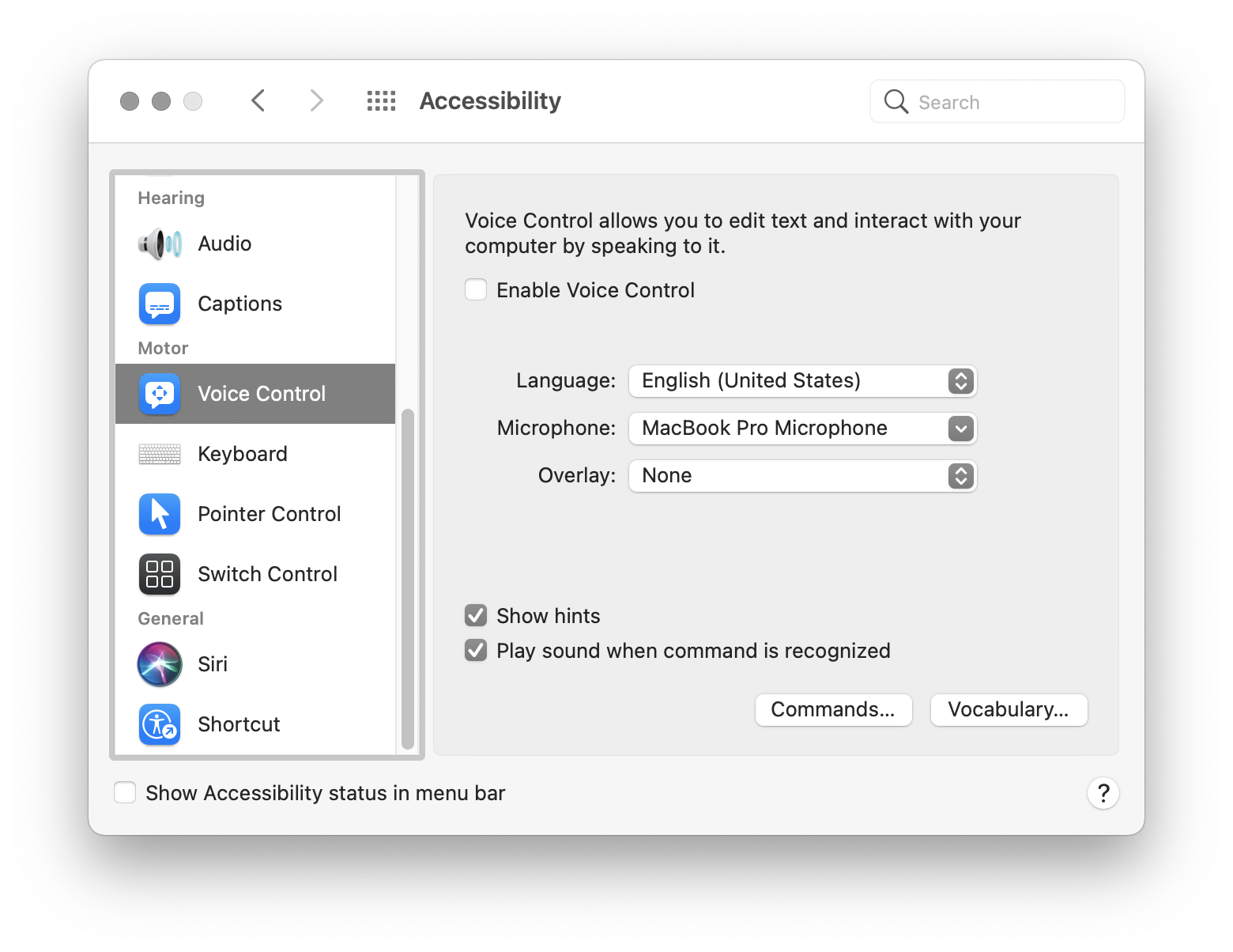 The macOS Accessibility preferences pane, with the options for Voice Control displayed. Screenshot.