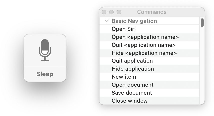 A button displaying a microphone icon and the word 'sleep.' Next to it is a window titled 'Commands,' showing basic commands such as Open Siri, open, hide, and quit application, and open and save document. Screenshot.