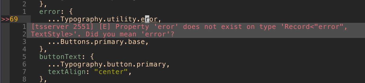 an image of a typo in a code editor with a TypeScript compiler warning indicating that there is a typo.