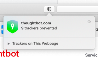 a tracker warning pops up for thoughtbot.com