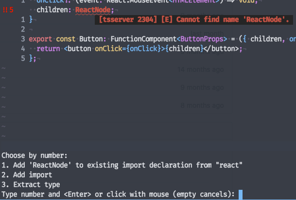 screenshot of the coc code actions menu
