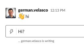 "Slack message saying "":wave: hi"""