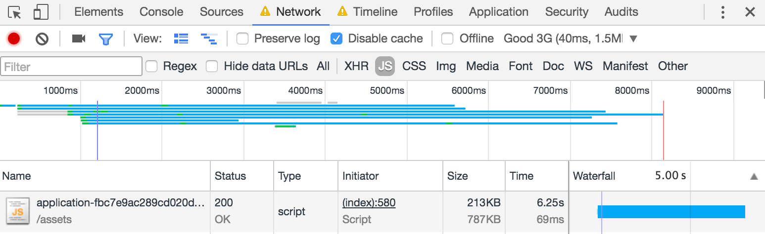 Transfer time of application.js, showing that it takes the duration of nearly the entire page load.