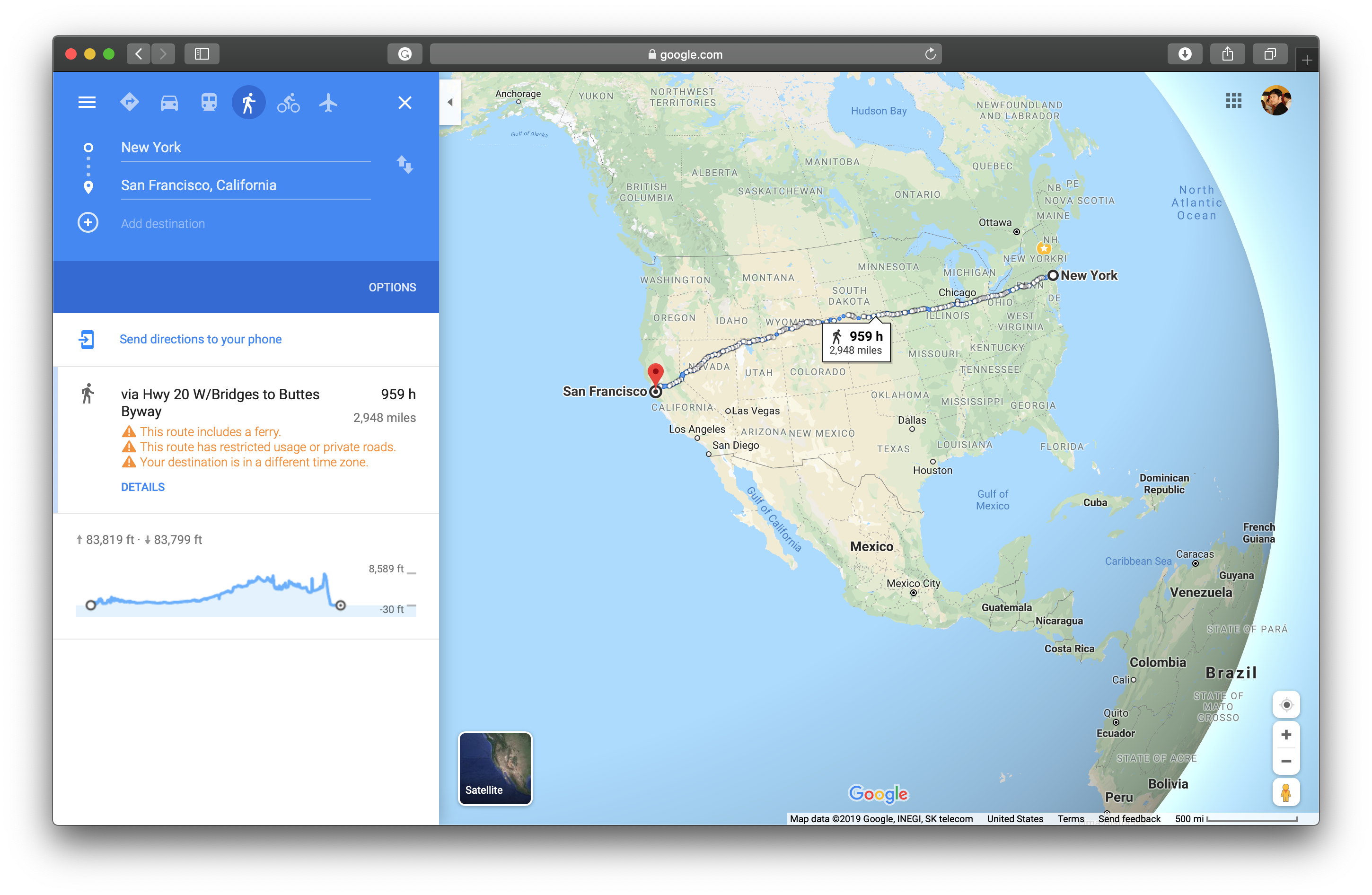 Walking directions from NY to SF via Google Maps