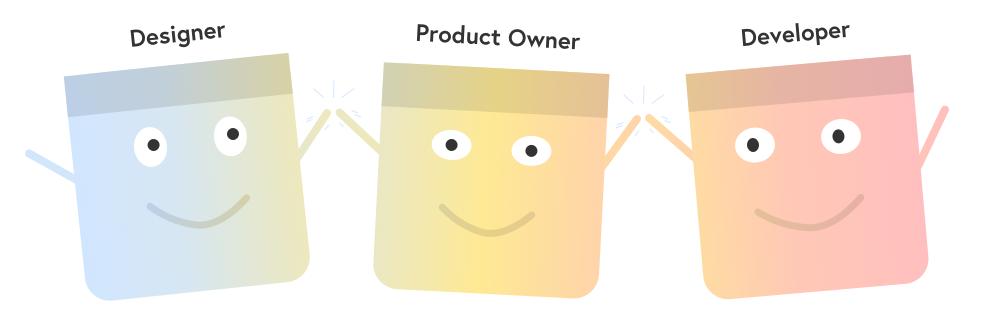 Illustration of a designer, product owner, and developer high fiving