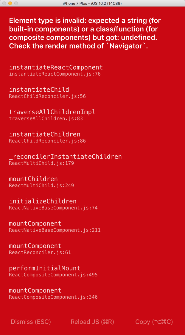 React Native Red Screen of Death