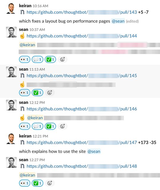 Multiple PR requests and reviews in Slack, with descriptions, links and emoji