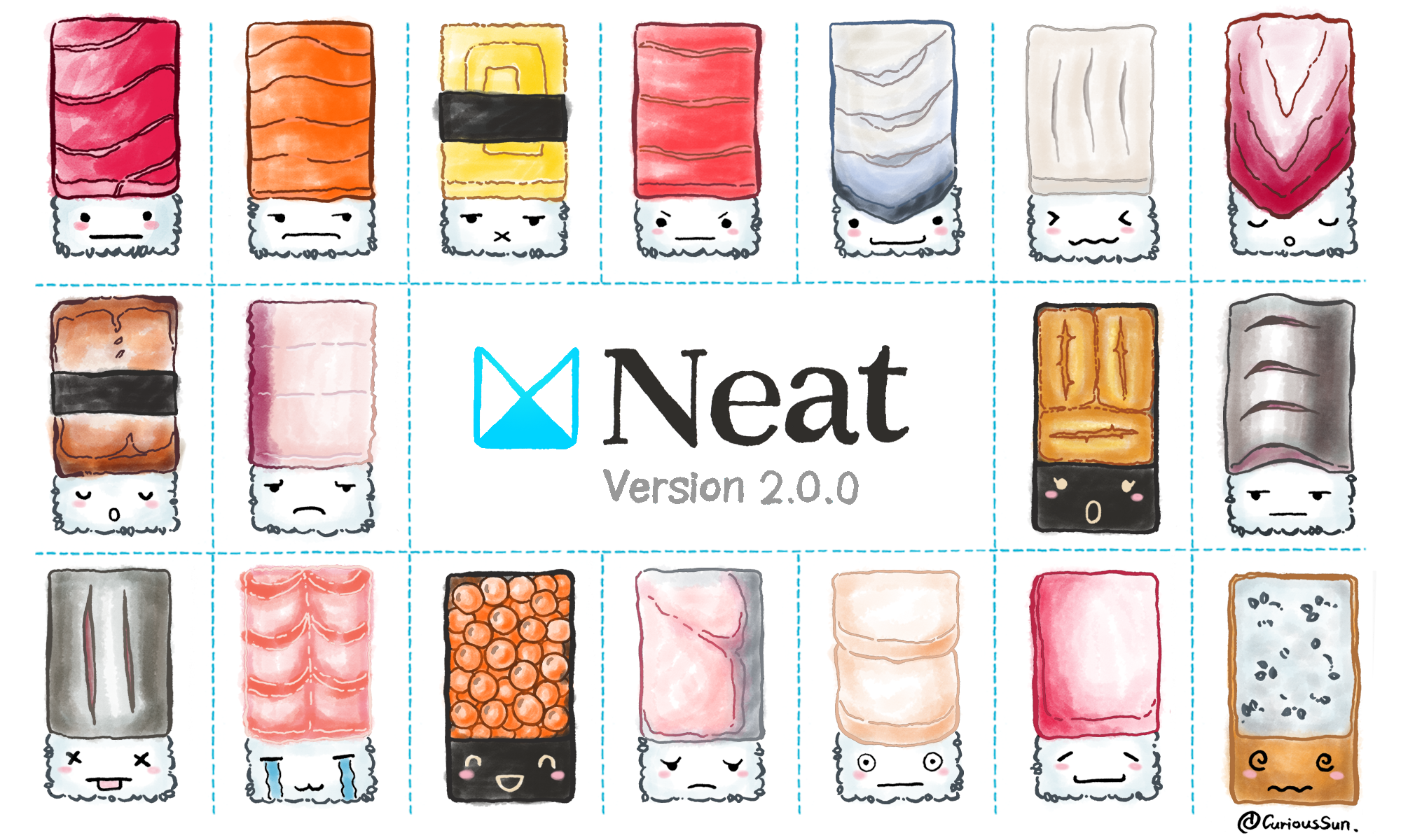 An illustration of cartoon sushi celebrating the release of Neat 2.0 from thoughtbot