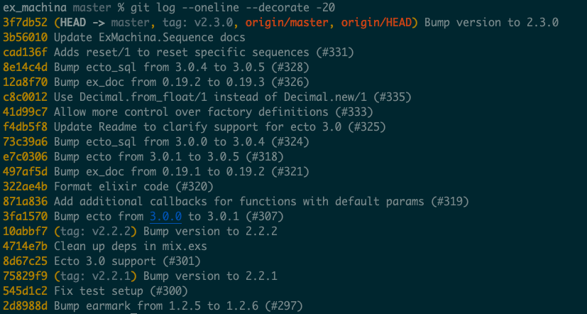 git log --oneline --decorate -20 output