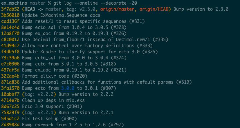 git log --oneline --decorate -20 output