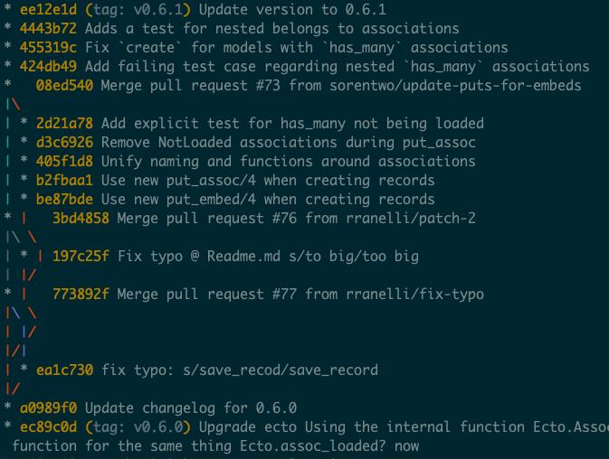 git log --oneline --decorate --graph output