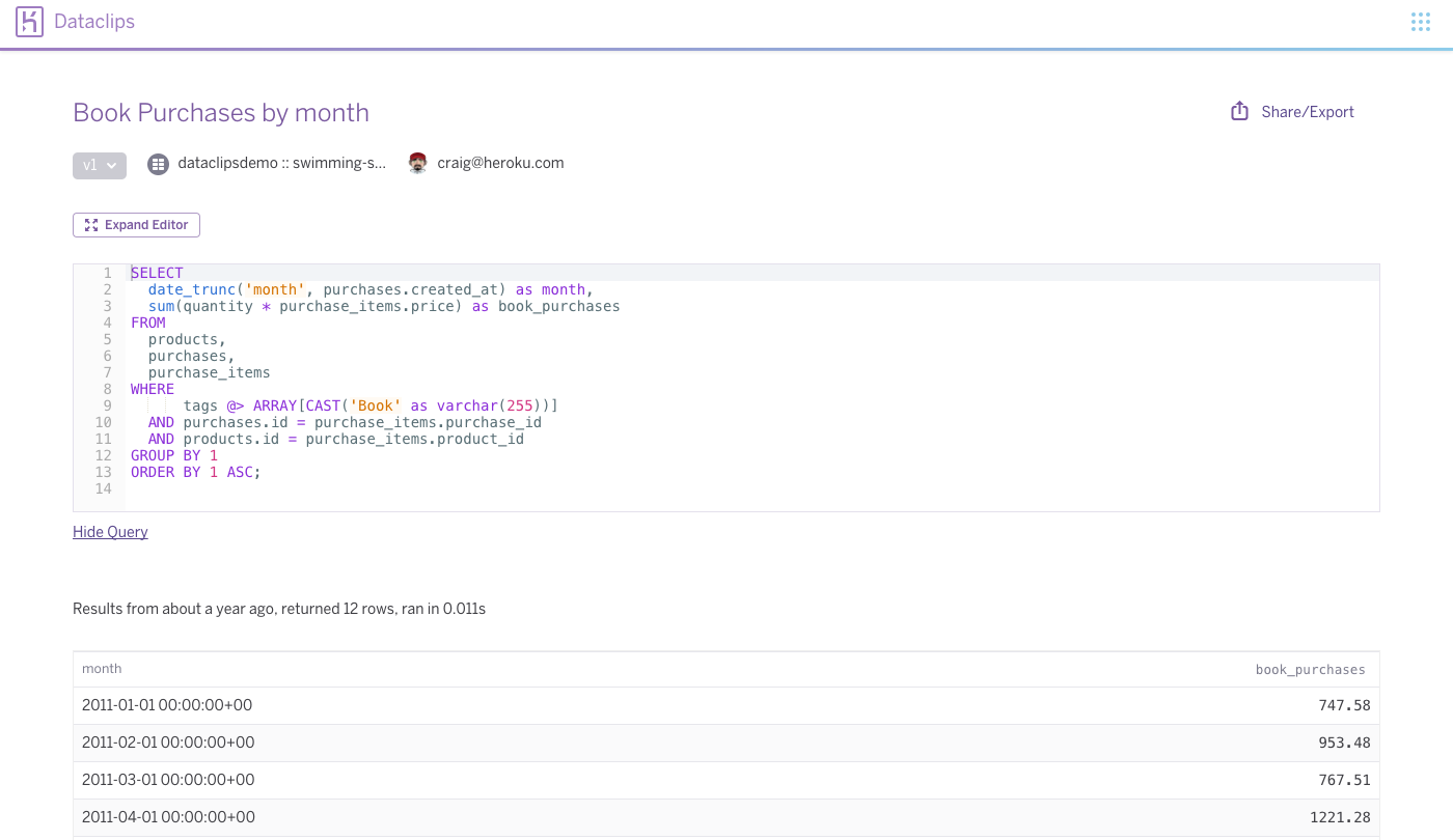 Lean & Maintainable Reports with Heroku Dataclips