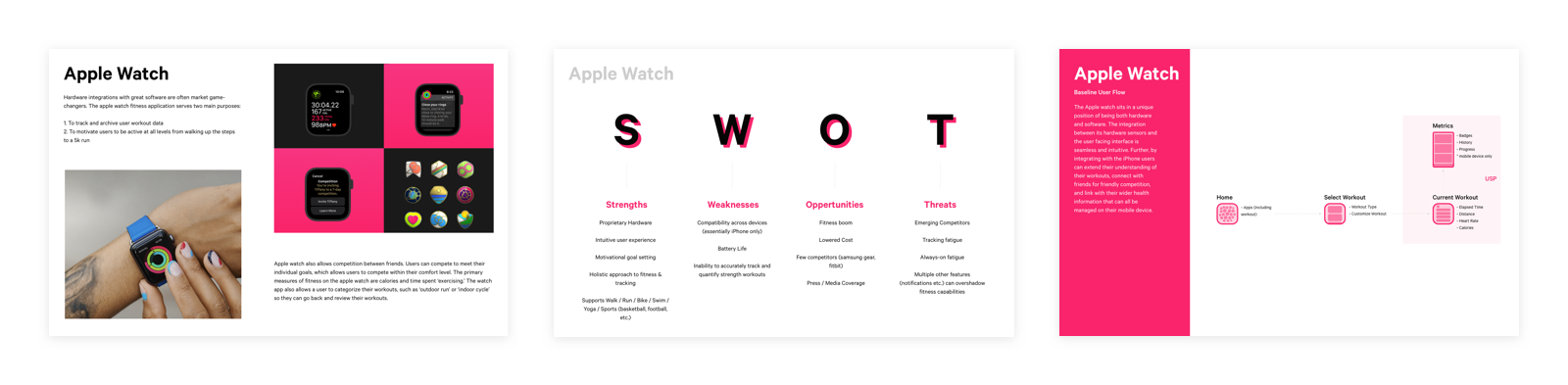 Presentation pages showcasing research outcomes from investigating the  Apple Watch activity app
