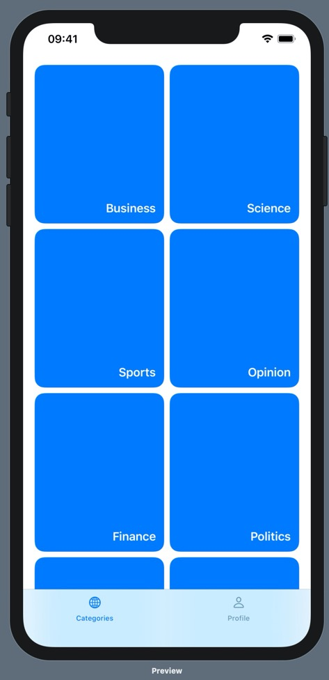 An iPhone 11 Pro max running our prototype. On the prototype is a bottom tab bar with two options: Categories and Profile. Above the categories tab label is a globe icon, and above the profile tab label is a person icon. The categories tab is blue and the profile tab is black. Above the bottom tab bar, there are eight clickable categories, each of which is represented by a blue rounded rectangle and an overlayed label with the category name in white text. The rectangles have more height than width, and they are arranged in two columns and three rows.