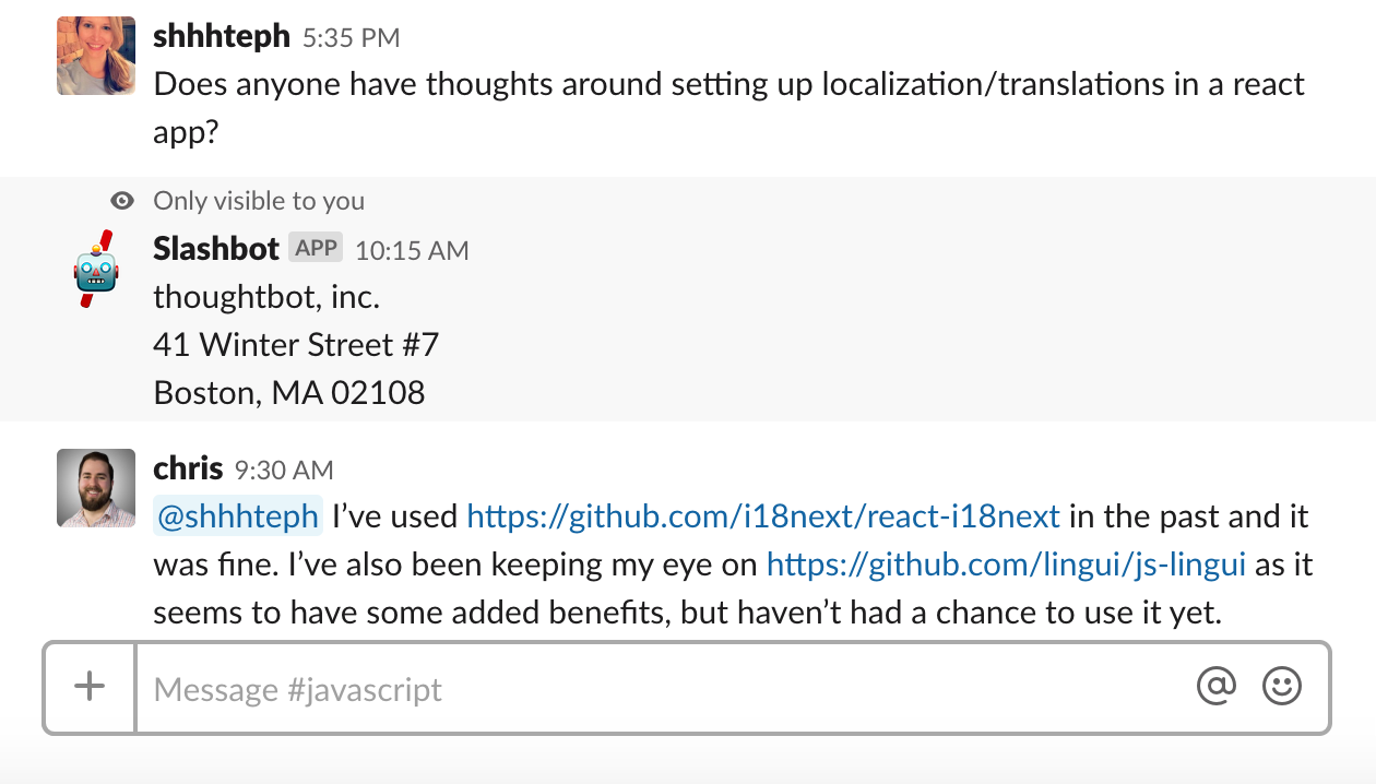A private slashbot reply appearing in between posts in an active conversation about internationalization resources for React.
