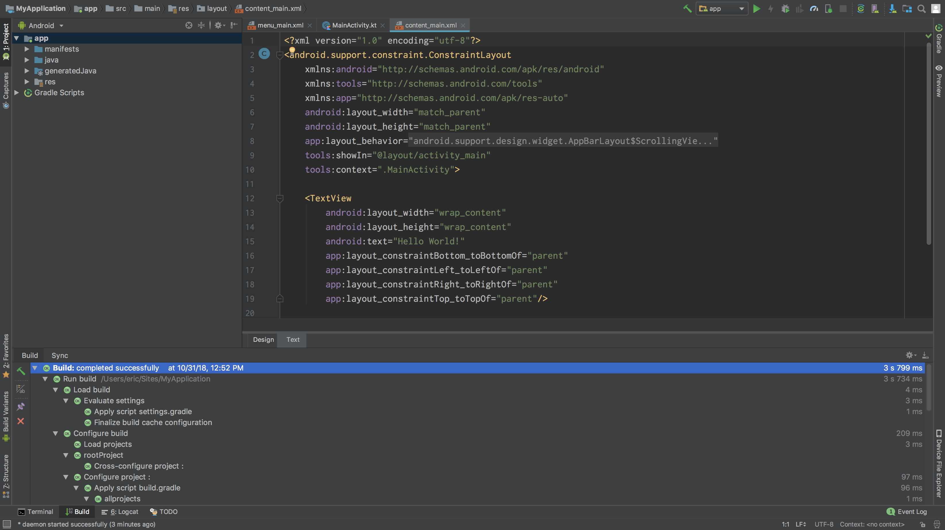 Screenshot of the Android Stuido app, displaying a new project's source code.