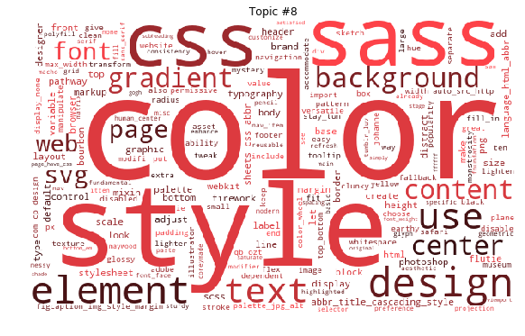 Word cloud of topic #8, including color, style, css, sass, element, and design