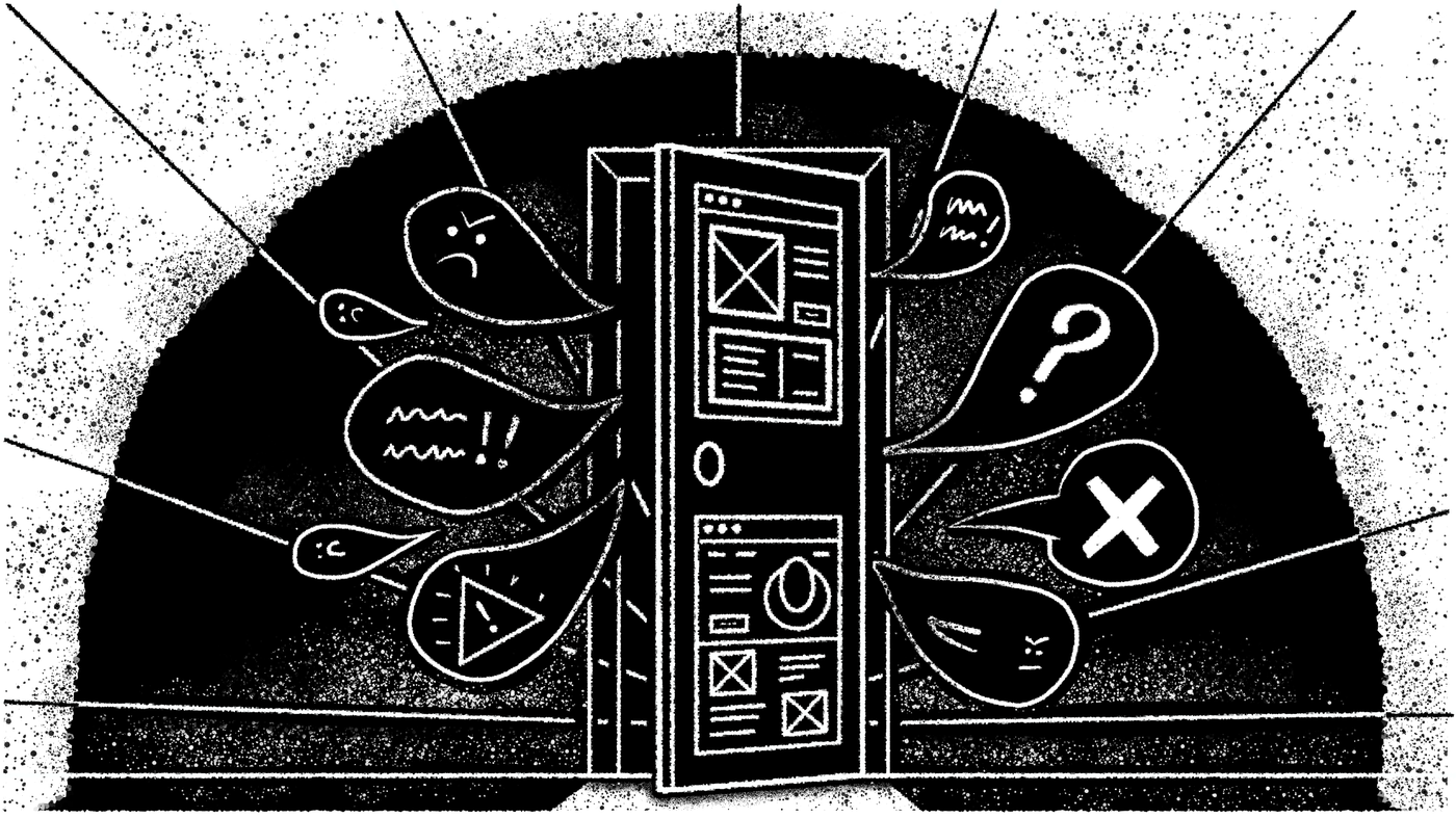Illustration: Behind the user facing interface (a metaphoric door) lies darkness, frustration and angry customers