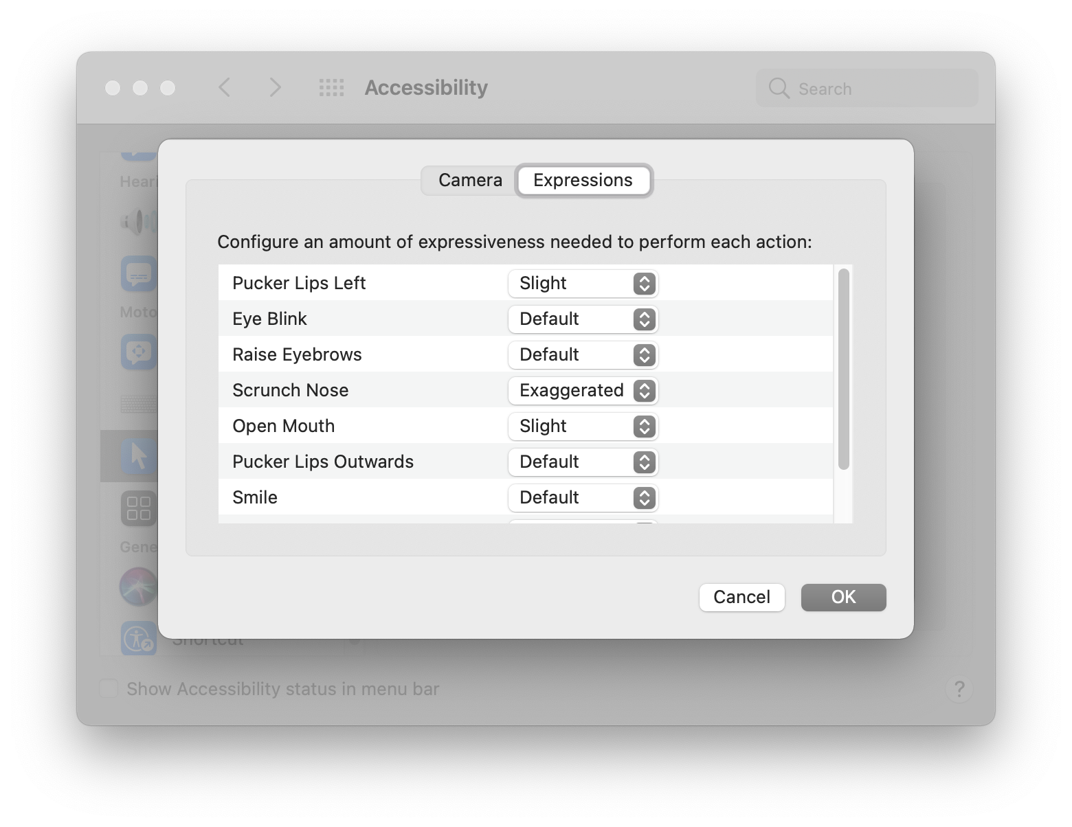 The Expressions preferences menu. Pucker Lips Left and Open Mouth have been set to Slight. Scrunch Nose has been set to Exaggerated. Screenshot.