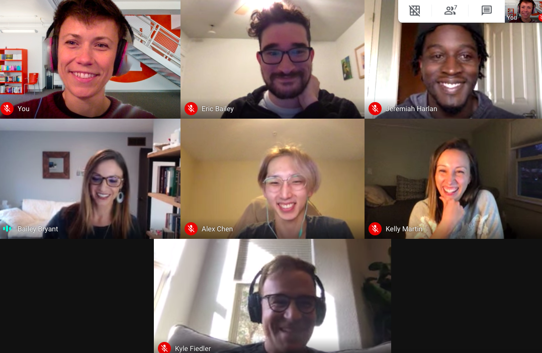 A Google hangout where the thoughtbot and Health Match 360 team are meeting for the first time. Screenshot.