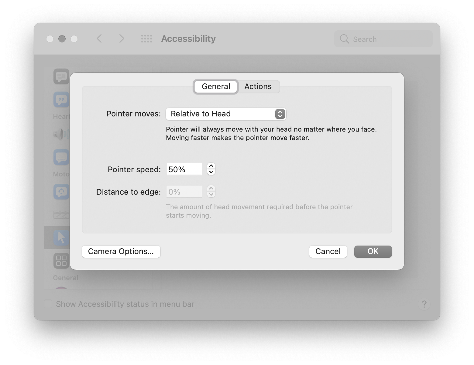 Head pointer options set to having the pointer moving relative to the head, and a pointer speed of 50%. Screenshot.