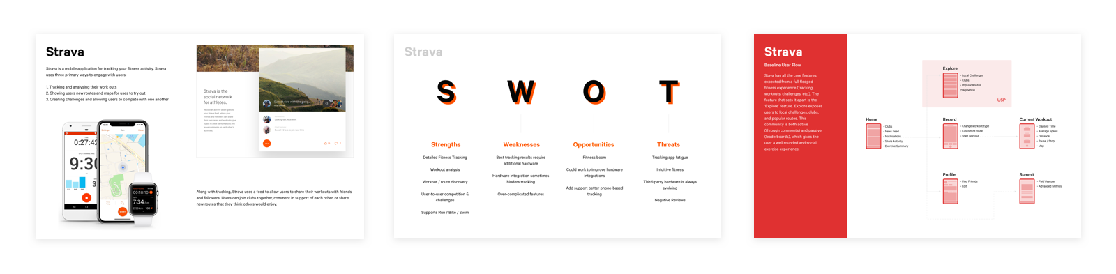 Presentation pages showcasing research outcomes from investigating Stava