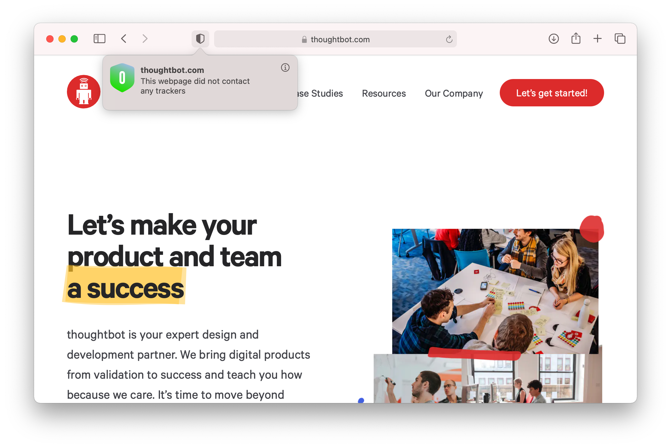 Pop up shows no trackers for thoughtbot.com