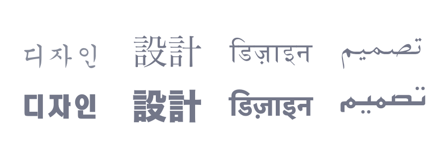 Hangul, Kanji, Hindi, and Arabic - in traditional and modern typefaces