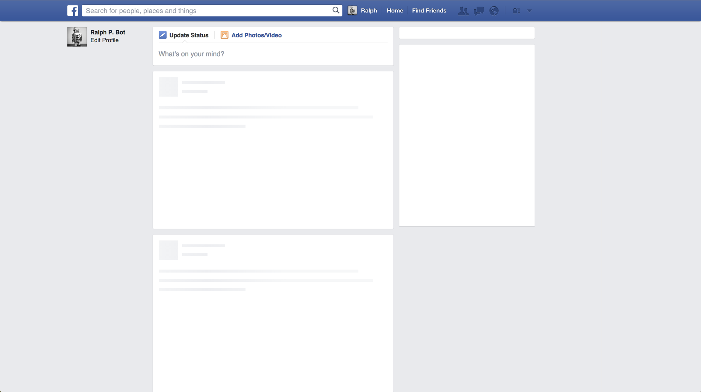 empty facebook page template