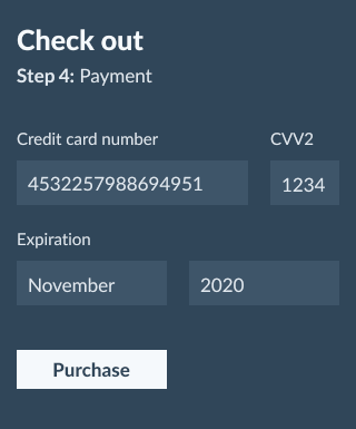 credit card details screen