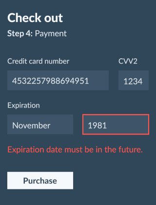 payment screen with an invalid expiration date
