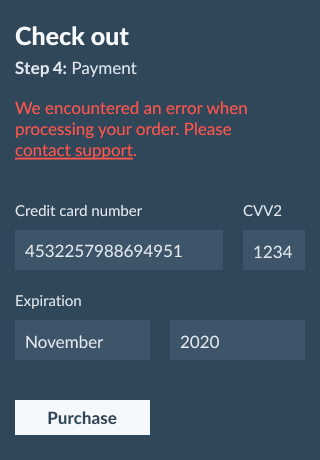payment screen with a generic error message