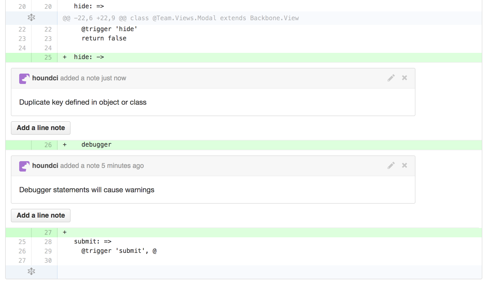 Screenshot of Hound linting CoffeeScript file