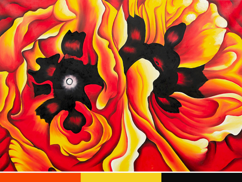 Georgia O'Keefe creates great depth using only tints of orange with   black – energetic, active