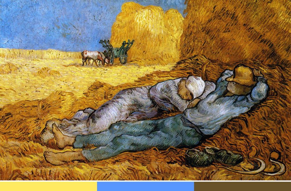 Van Gogh creates three distinct planes with a cool blue and a warm   yellow – cozy, earthy