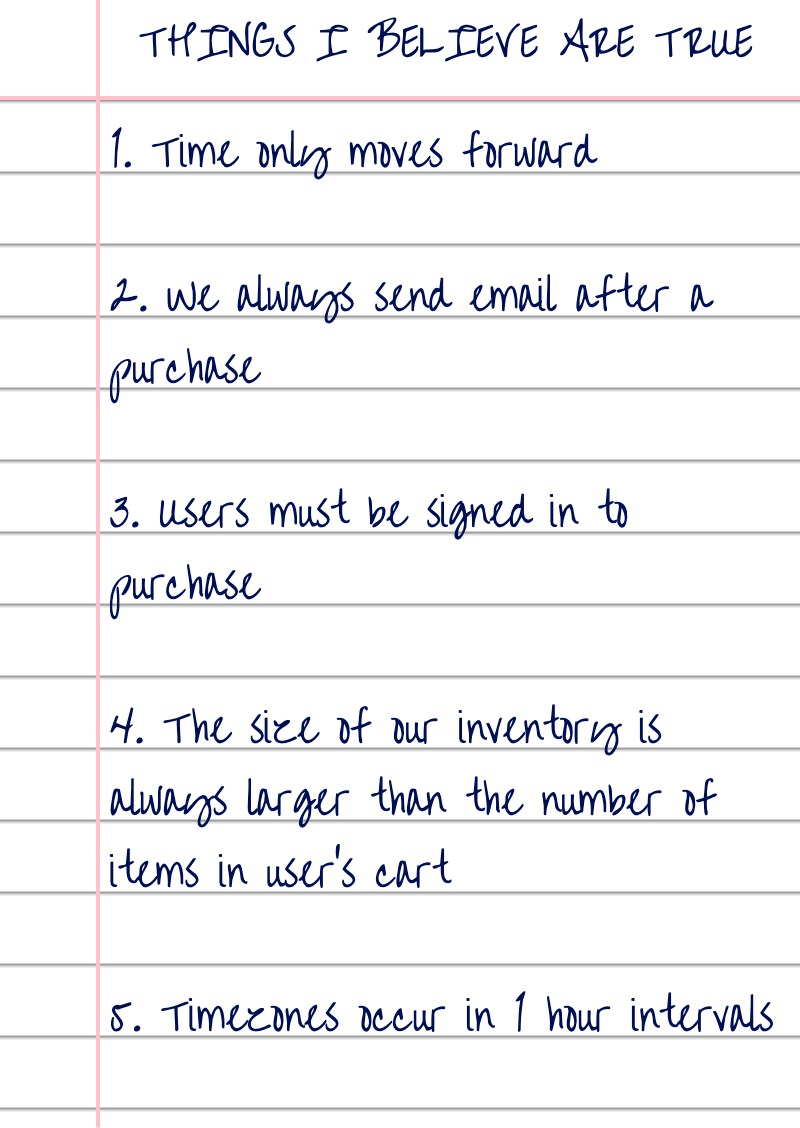 Ruled paper with handwritten list of assumptions. These are: time only moves forwards, we always send email after purchase, users must be signed-in to purchase, the size of our inventory is always larger than the number of items in the users cart, and timezones occur in 1 hour intervals.