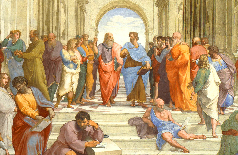 Fresco showing Greek philosophers talking together