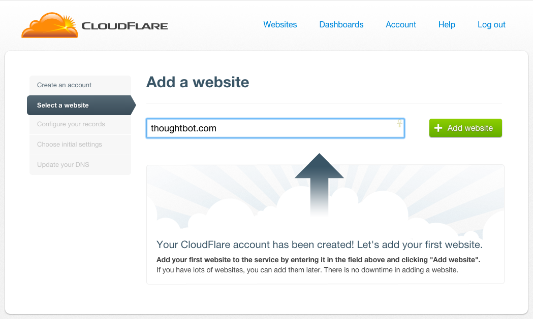 Enter your domain name, such as thoughtbot.com, to CloudFlare