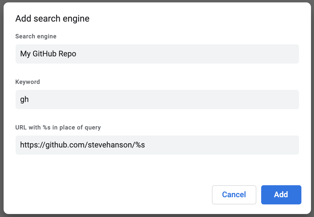 GitHub repo Chrome search engine.