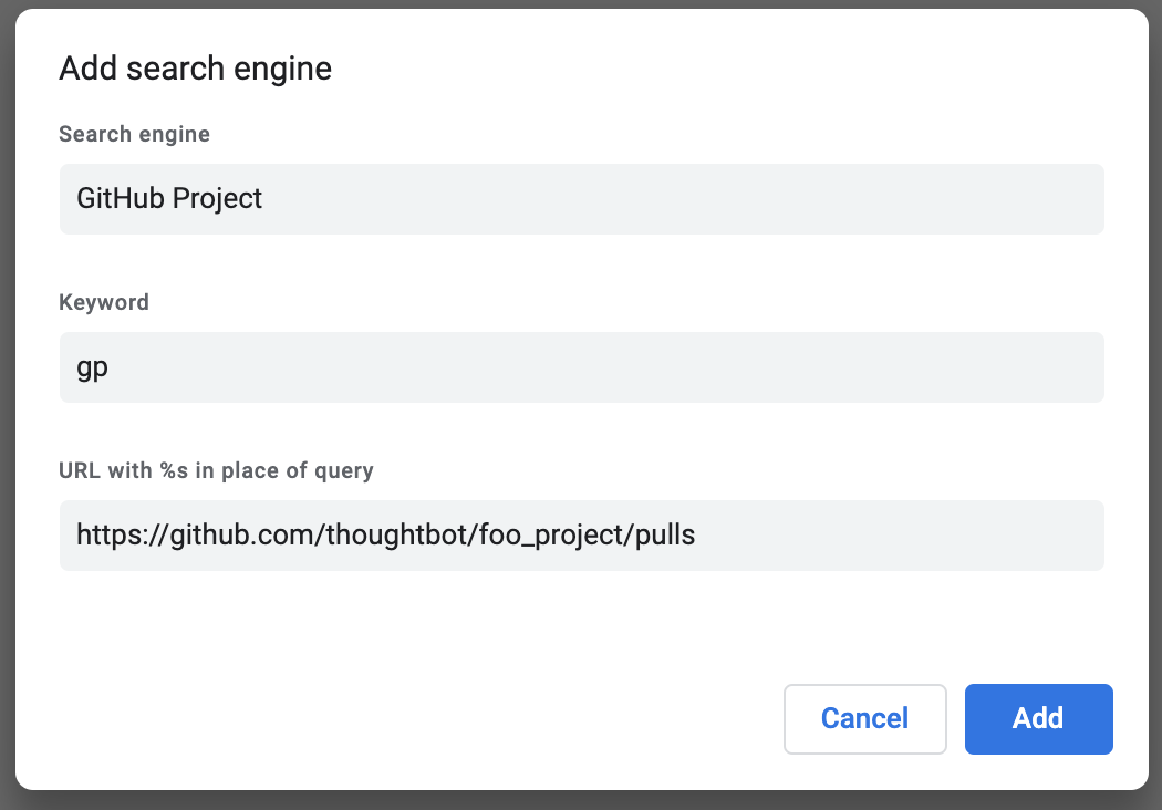 Current project Chrome search engine.