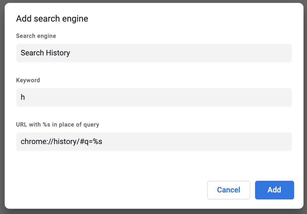 History Chrome search engine.