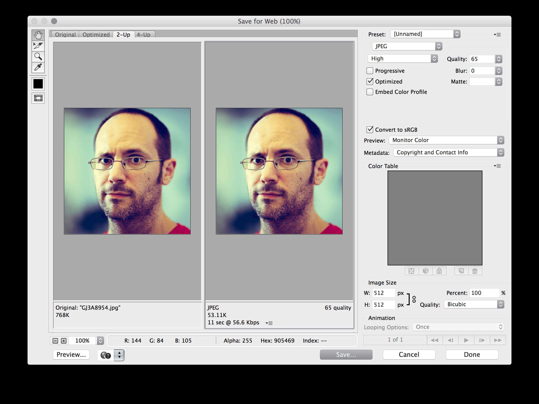 Photoshop's web export dialog box